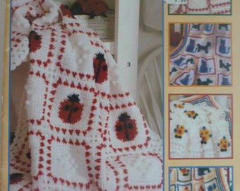 snug as a bug baby afghans by Leisure Arts to crochet, Anne Halliday, six afghan patterns
