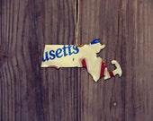 "Upcycled Massachusetts License Plate ""State of Massachusetts"" Ornament"