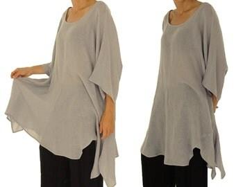 HO100GR tunic plus size blouse linen plus size Gr. grey 42-56