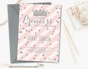 Princess Baby Shower Invitation, Princess Invitation, Princess Baby Shower, Princess Party, Pink and Silver, Crowns, Baby Shower