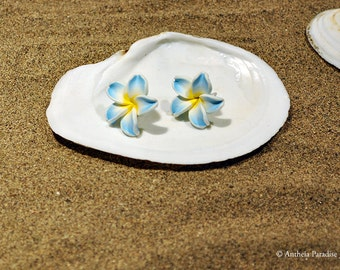 Hawaiian Jewelry - 22mm Polymer Clay Plumeria Flower Stud Earrings - Blue with Yellow Center