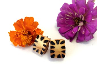 Tiger Stripe Rounded Square Earrings