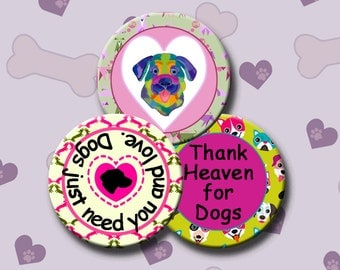 I LOVE DOGS - Digital Collage Sheet 2.5 inch round images for Pocket Mirrors, Magnets, Paper Weights - Instant Download #234.