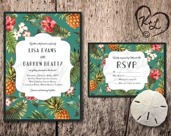 Hawaii wedding invitations etsy for Tropical wedding invitations