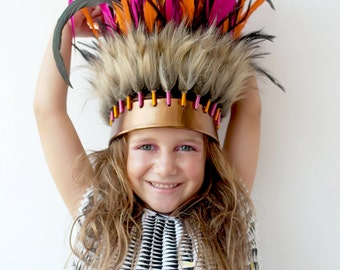 Fun Dress Up Pink Orange Feather Crown Headdress