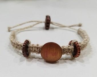 Beige Macrame Bracelet with Bronze Beads