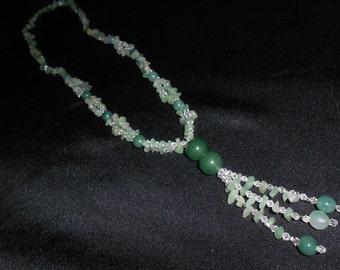 GREEN ADVENTURINE Tassel NECKLACE*32 inches plus 4 inch Tassel*The Money Stone