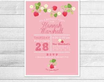 Chalkboard and Strawberry Birthday Party Invitation, Printable Digital Invite File, Girl, Picnic, Blossoms