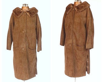 Vintage 1950s 1960s Suede Leather Coat Brown Fur Collar Mad Men Outerwear Mod Winter Jacket Size Small Medium Fur Swing Coat