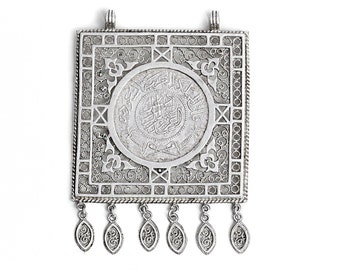 One Riyal 999 Silver Pendant Coin AH 1370 1950 Saudi Arabia authentic Vintage online Shop Jeweller Necklace Pendants Jewelers