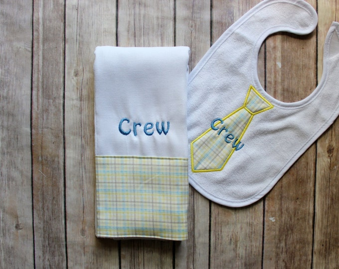 Baby Boy Burp Cloth Set, Monogrammed Burp Cloth and Tie Bib, Baby Boy Gift, Personalized Baby Boy Gift, Baby Shower Gift, Tie Bib