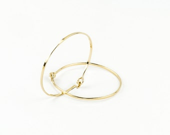 Yellow 14k Gold Fill Bracelets, Gold Bangle Set, Hand Forged Metal, Thin Bangle Bracelet, Yellow Gold Bracelet, Gold Jewelry
