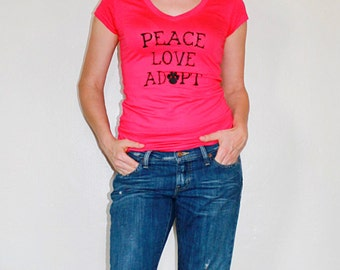 Dog / Cat Rescue Shirt in pink - Peace Love Adopt - ON SALE