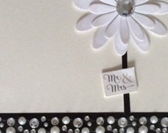 MR & MRS Glittered Flower embellished with rhinestones handmade greeting card