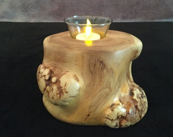 Burled Oak Tea Light Votive Candle Holder