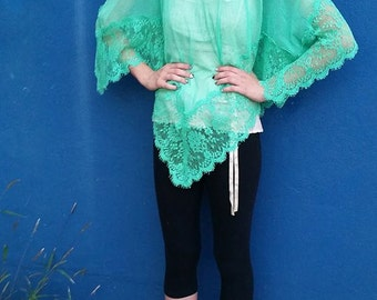 Green Teal Pastel Mint Guaze Shawl with Lace