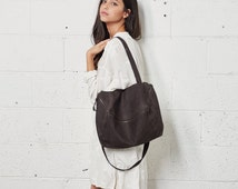 Sale 20% Off Leather Purse with Zipper, Leather Bag, Leather Handbag In Dark Brown, Over The Shoulder Leather Bag