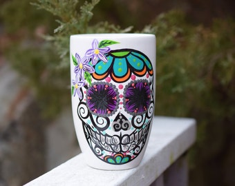 Hand Painted 16 Oz Sugar Skull Mug
