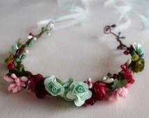 Multi Color Flower Crown - Aqua and Pink Flower Wreath - Ribbon Tiara - Flower Tiara - Adult Headband - Bridal Flower Crown - Burgundy