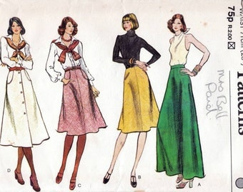70s Vogue skirt sewing patterns 9003, Waist 28 inches, factory folded