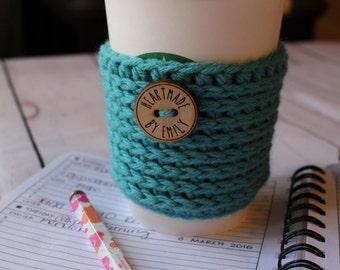 Aqua Crochet Coffee Cozy - Crochet Coffee Sleeve - Coffee Cozy - Coffee Sleeve - To Go Coffee Cup Sleeve