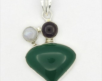 Exceptional! New Green Onyx,Amethyst,Moonstone 925 Sterling Silver Pendant A0547