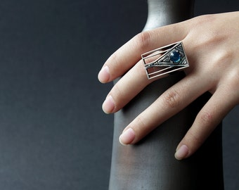 Silver boho rings, silver rectangular ring, silver ethnic jewelry, Silver Rings Women