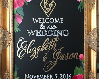 Diamond Monogram Wedding Sign - Welcome to our Wedding • Wedding Monogram • Couple's Names and Wedding Date Custom Wedding Chalkboard Sign,
