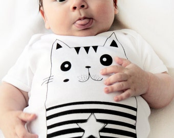 Baby bodysuit - CAT, Chat, gato, English, French, Spanish - Kitty, Cat lover, 6-12 months,  Short sleeves, handprinted in Canada,  Onesie