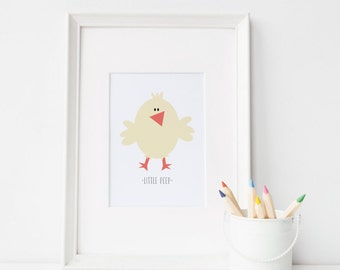 Nursery Art Print   Baby Animals   Little Peep   Baby Chick Nursery