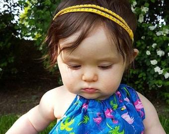 Yellow Headband, Baby Headband, Suede Headband, Two Strand Headband, Newborn Headband, Headband for baby, Handmade Headband, Baby Headpiece