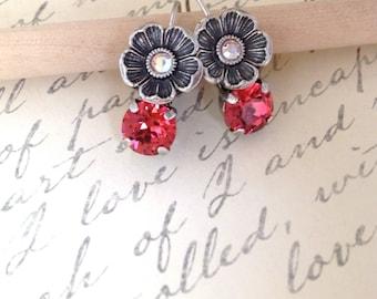 Swarovski Flower Hyacinth crystal lever back earrings, Antique silver flower embellishments, LisaMitchumDesigns, hand crafted