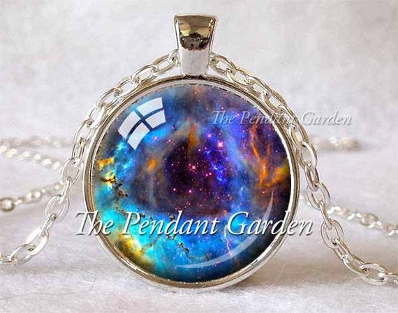 ROSETTE NEBULA Pendant Nebula Necklace Aqua Blue Navy Space