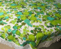 Mod Terry Cloth Tablecloth Round Teal Lime Green Fruit Floral Print Poolside