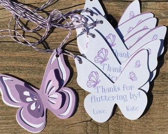 Butterfly Thank You Tags, Favor tags, Gift tags - Shades of Purple & White - Personalized  - baby shower, birthday - set of 8