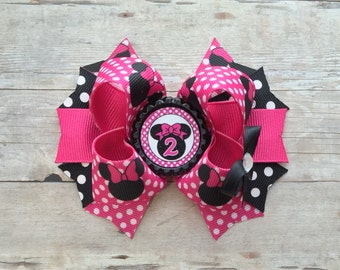 Hot Pink Bow- Minnie Second Birthday- Pink and Gold Bow- Minnie 2ND Birthday-Pink and Gold -Pink and gold minnie mouse 2nd birthday outfit