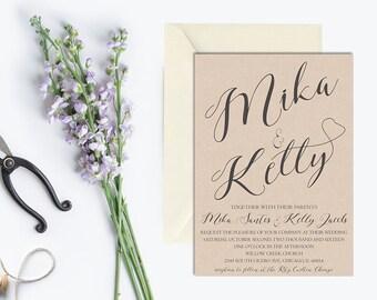 Rustic Wedding Invitation, Wedding Invitation Printable, Vintage Wedding Invitation, Kraft Wedding Invitation, Rustic Invite Set, digital