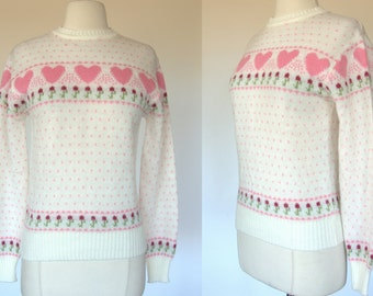 1980s heart print sweater, white acrylic knit, pull over top, floral print, small