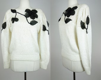 1980s silk sweater, white knit top with black floral appliques, bonnie and bill, pull over acrylic top, Large