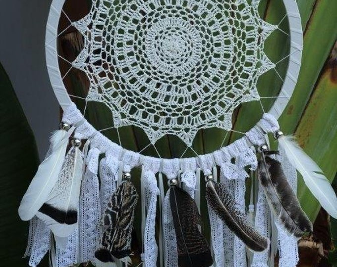 Big Crochet Dream Catcher with feathers