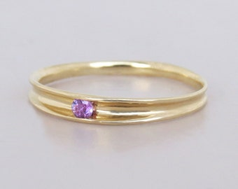 Unique Amethyst gold Ring, Gemstone engagement ring, February Birthstone gold Ring, Solitaire Ring, 14k Solid Gold Ring with amethyst, gift.
