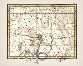 Sagittarius Zodiac Sign Constellation - AS-20 - Fine art print of a vintage scientific or pseudoscience antique astronomy illustration
