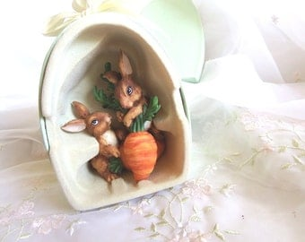 Vintage Porcelain Peter Rabbit family with a Carrot in an Egg Shapped Box