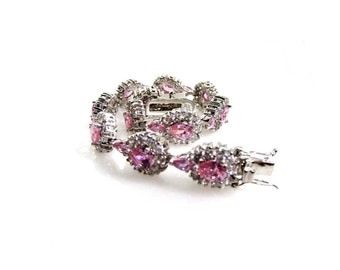 Sterling Silver Glamorous Pink & White Stone Bracelet - Sparkling Formal Bracelet - Glittering Prom Jewellery - Collectable Jewellery 71