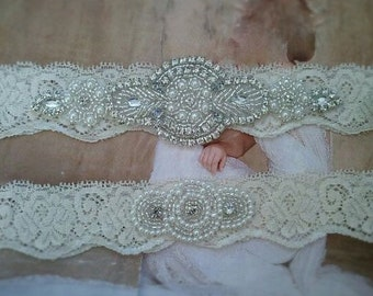 SALE -  Wedding Garter Set-Pearl and Rhinestone Garter Set on a Ivory Lace Garter Set with Pearl & Rhinestone - Style G233