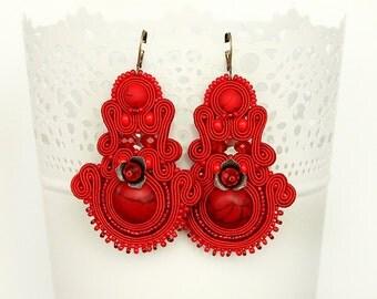 Red chandelier soutache earrings, red dangle earrings, large drop earrings, statement soutache earrings
