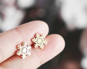 Snowflake earrings, snowflake Christmas gifts gift for her winter Christmas gift stud earrings sensitive skin jewelry snowflakes