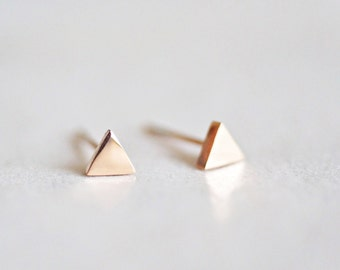 Tiny Triangle Stud Earrings, Rose Gold, Minimal, Minimalist, Simple, Geometric Earrings, Steel, Titanium, Birthday Gift For Her, PS4