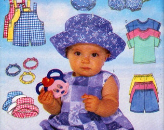 Butterick 4898, 12 to 21 Pound Baby, Summer Clothes, Rompers, Headbands, Overalls, T - Shirts, Pull On Shorts and Hat Pattern, Fast  Easy