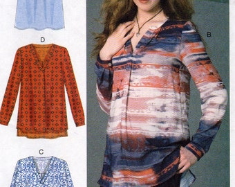 McCalls 7248, Plus Size Ladies Pullover Tops sewing Pattern, Sizes 14,16,18,20, 22, Front Band and Pleat, Back Pleat, V Neck Top